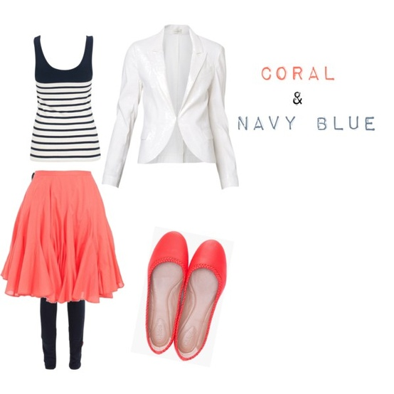 Coral and navy blue